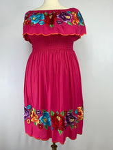 Off-the-shoulder pink flounce Mexican Tehuana inspired short dress