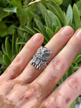 Great horned owl  sterling silver ring