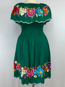 Green flounce Tehuana inspired short dress