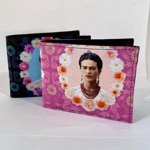 Frida Kahlo inspired print handcrafted billfold style wallet
