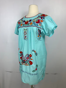 Huipil bordado traditional Mexican short dress size 10-12 color aqua