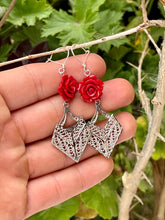 Roses and filigree geometric dangle sterling silver earrings