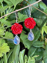 Rose dangle earrings in sterling silver and blue flash labradorite
