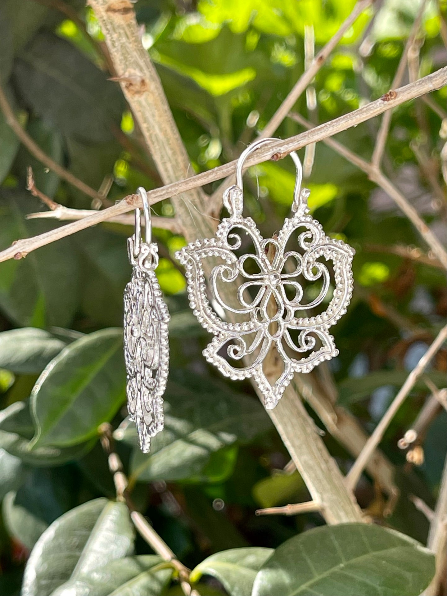 Mexican vintage filigree Butterfly hoop earrings