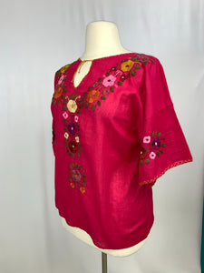 Plus size handmade traditional Mexican Blouse fuchsia
