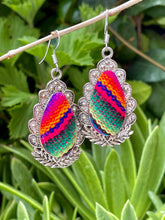 Vintage teardrop dangle earring in silver tone and colorful sarape style textile