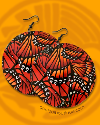 Large shell handcrafted dangle earrings Monarch butterfly  print