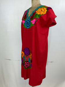 Huipil bordado traditional Mexican Chiapas style embroidery dress size 8