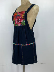 Guatemala sun extra small short dress in woven cotton and cross stitch embroidery