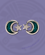 Turquoise inlay tiny crescent and star post earrings in sterling silver