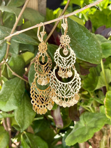 Large leaf pattern dangle chandelier style earrings 14k yellow gold plating