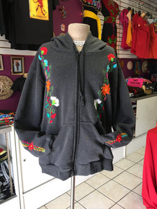 Embroidered hoodie gray size XL/2X