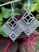 Papel picado sterling silver filigree dangle earrings