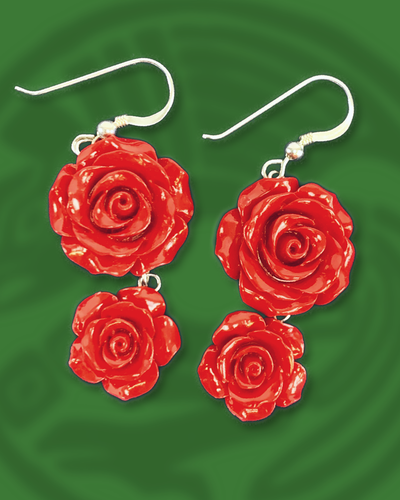 Tapered double tiered roses dangle sterling silver earrings