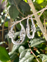 Crescent and star sterling silver hoop earrings