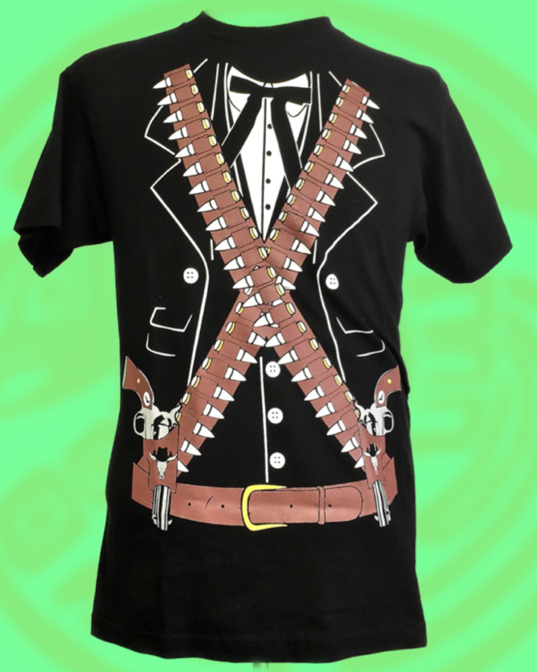 Mexican revolution guerrillero inspired print on black crew neck tee