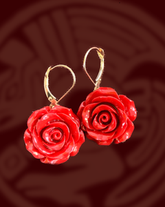 Single red Rose dangle 14K yellow gold dangle earrings
