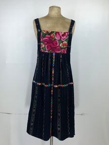 Guatemala sun medium length dress in woven cotton and cross stitch embroidery