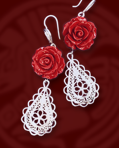 Roses and filigree teardrop dangle sterling silver earrings