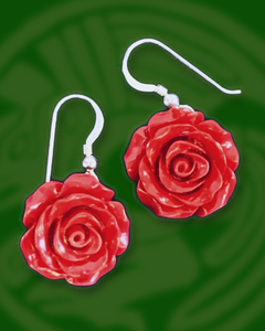 Single red Rose dangle sterling silver earrings