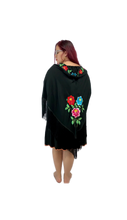 Off the shoulder flounce short dress in black rayon multicolor embroidery