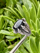 Dragon Claw Designer Fantasy Ring in Sterling Silver and Onyx gemstone