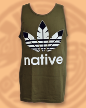 NATIVE print muscle unisex tank top in military green