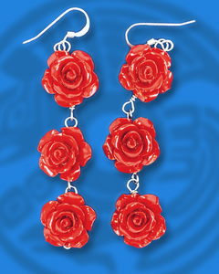 Red Roses triple tier dangle sterling silver earrings