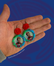 Frida inspired rose dangle earrings