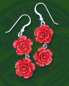 Red Roses double tier dangle sterling silver earrings
