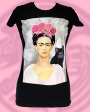Frida and cat silk screen print tank top