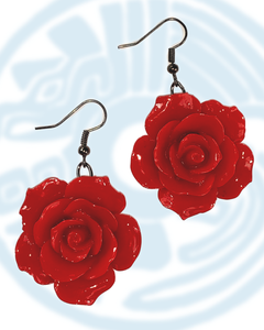 Large rose dangle earrings in red