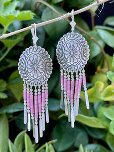 Vintage southwestern medallion and feather dangle earrings in pink marble and sterling silver