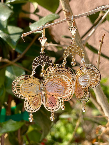 Large butterfly 2 dangle drop earrings in 14k tri color gold plating