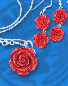 Red coral double rose earrings and necklace set