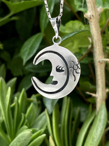 Luna lunera pendant in hand-carved sterling silver