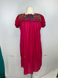 Huipil bordado traditional Mexican Chiapas style cross stitch embroidery dress plus size 14