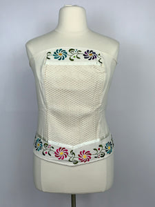 Corset tube top floral embroidery plus size