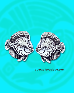 Tiny tropical fish post earrings in sterling silver