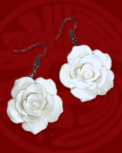 Large rose dangle earrings in white