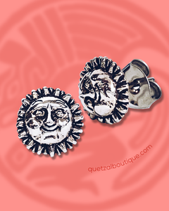 Tiny suns post earrings in sterling silver