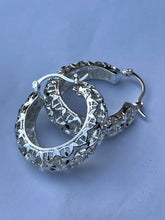 Large round art deco basket hoop earrings in 14kt white gold plating