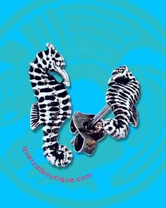 Tiny sea horse post earrings in sterling silver