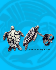Tiny sea turtle post earrings in sterling silver