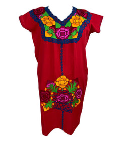 Huipil bordado traditional Mexican Chiapas style embroidery dress plus size 20