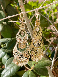 Leaves design chandelier style  dangle earrings in 14kt yellow gold plating.
