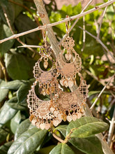 Roses and hearts chandelier style dangle earrings in  14kt yellow gold plating