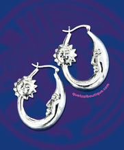 Sun and moon sterling silver hoop earrings