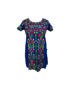 Short sleeve short dress in blue rayon