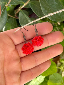 Red dahlia dangle earrings